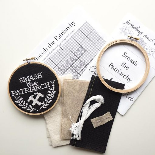 supplies-inside-the-smash-the-patriarchy-embroidery-cross-stitch-kit_square