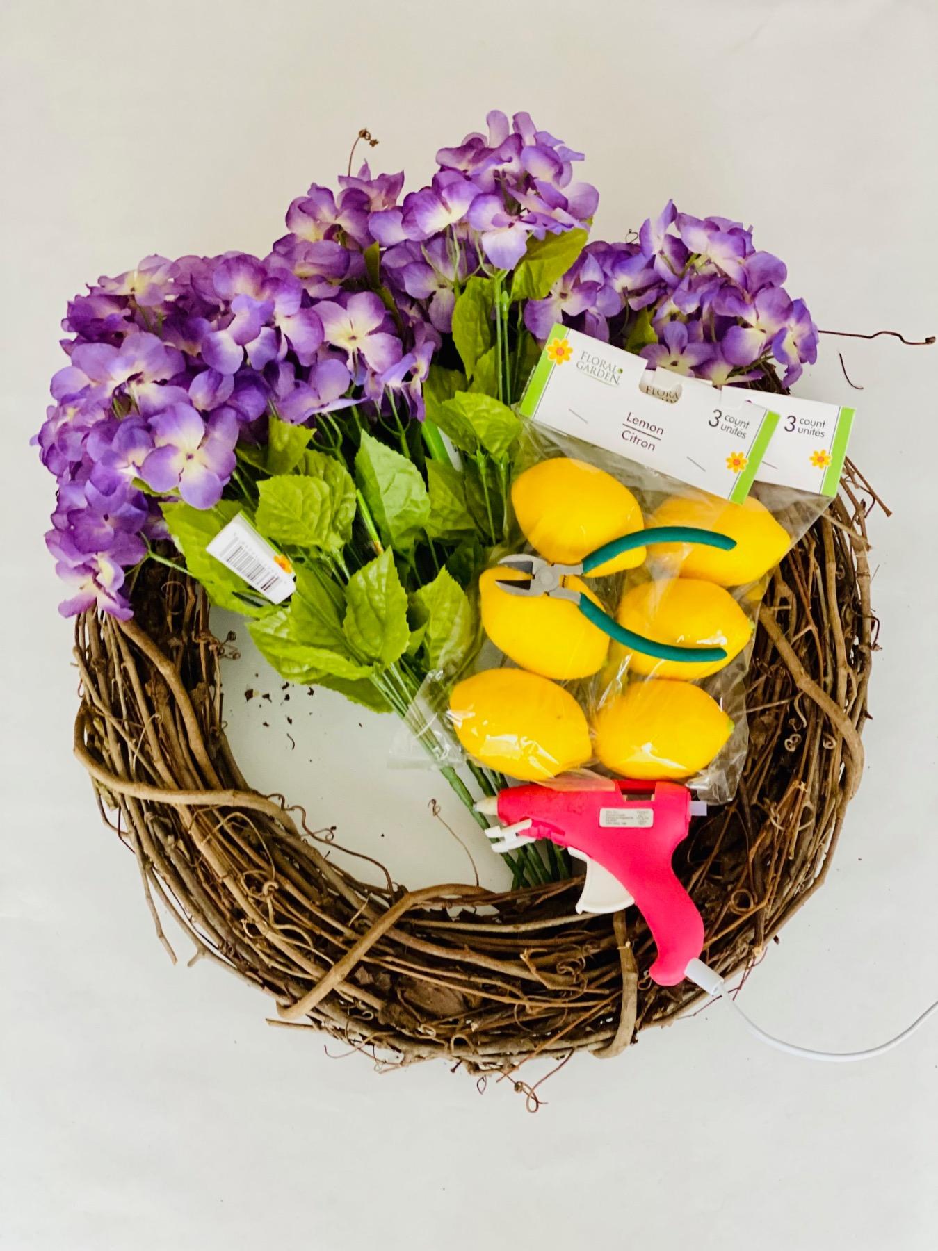 supplies to make a lemon door wreath diy