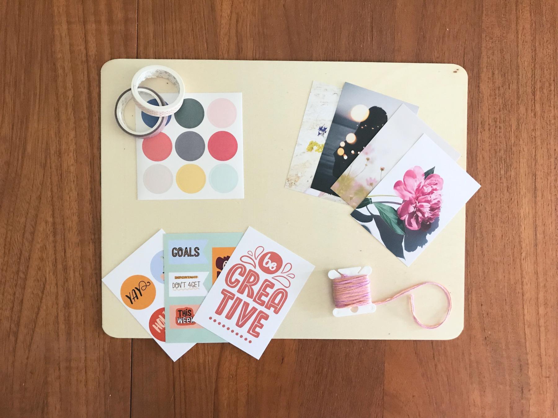 supplies to make a stylish wood vision board