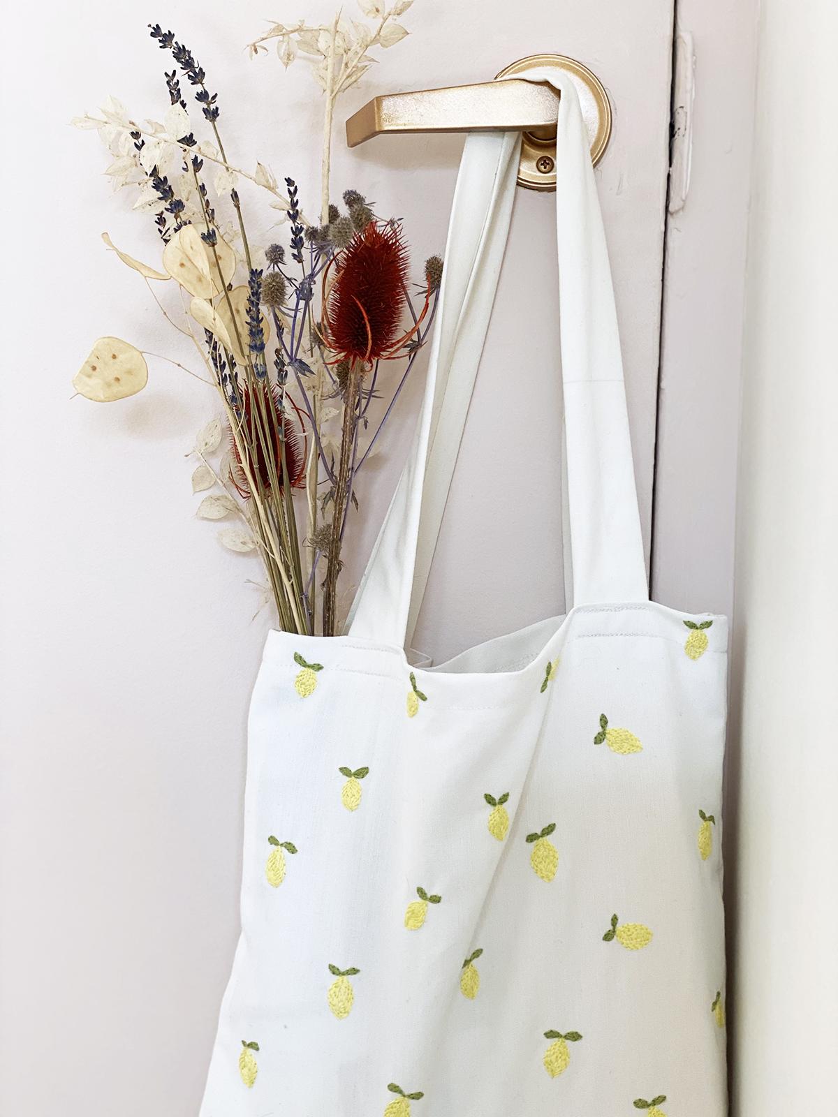 Lemon Embroidered Tote Bag
