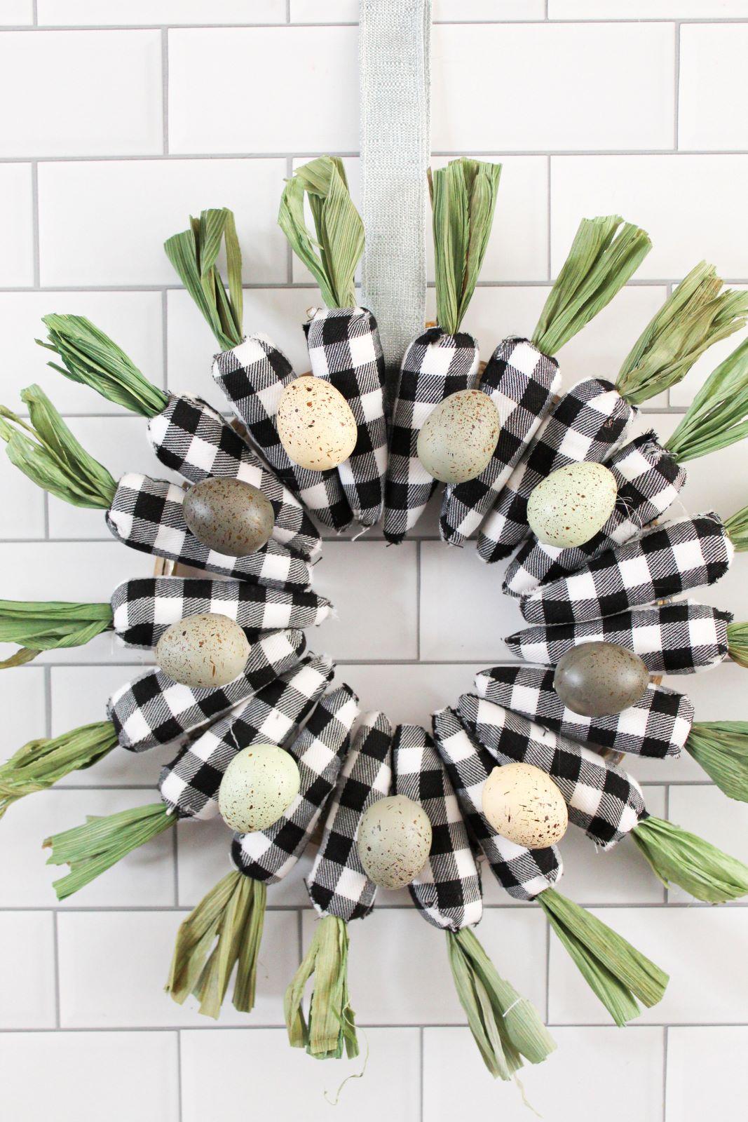 Vertical Farmhouse Plaid Carrot Wreath for Easter 1