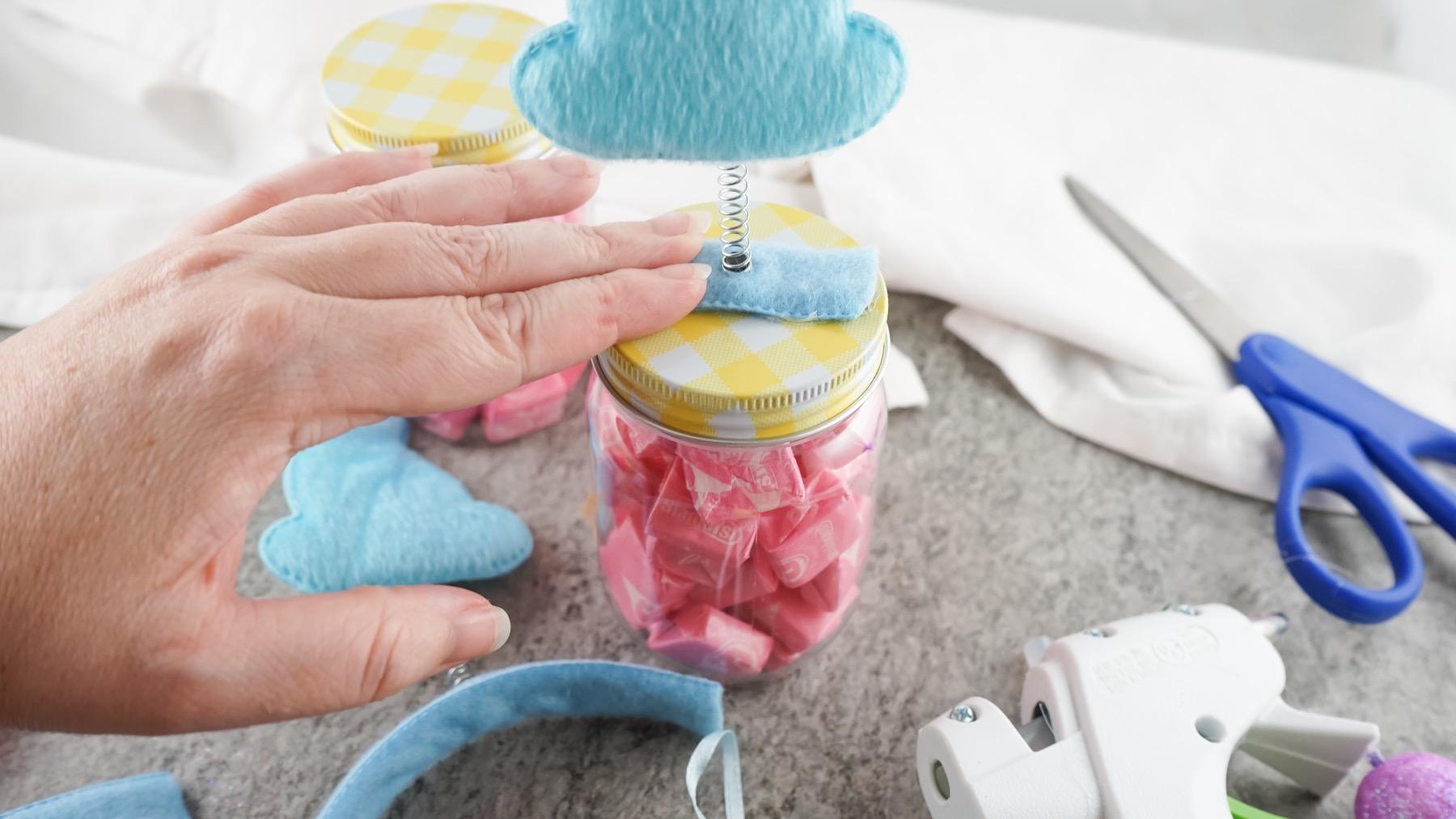 attach the bunny to the mason jar candy jar diy