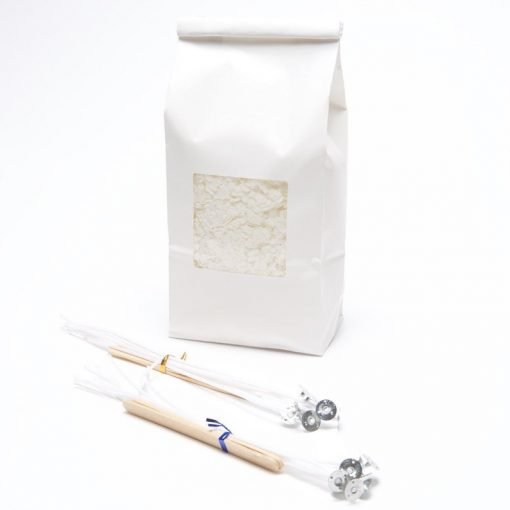 bag of soy candle wax with wicks