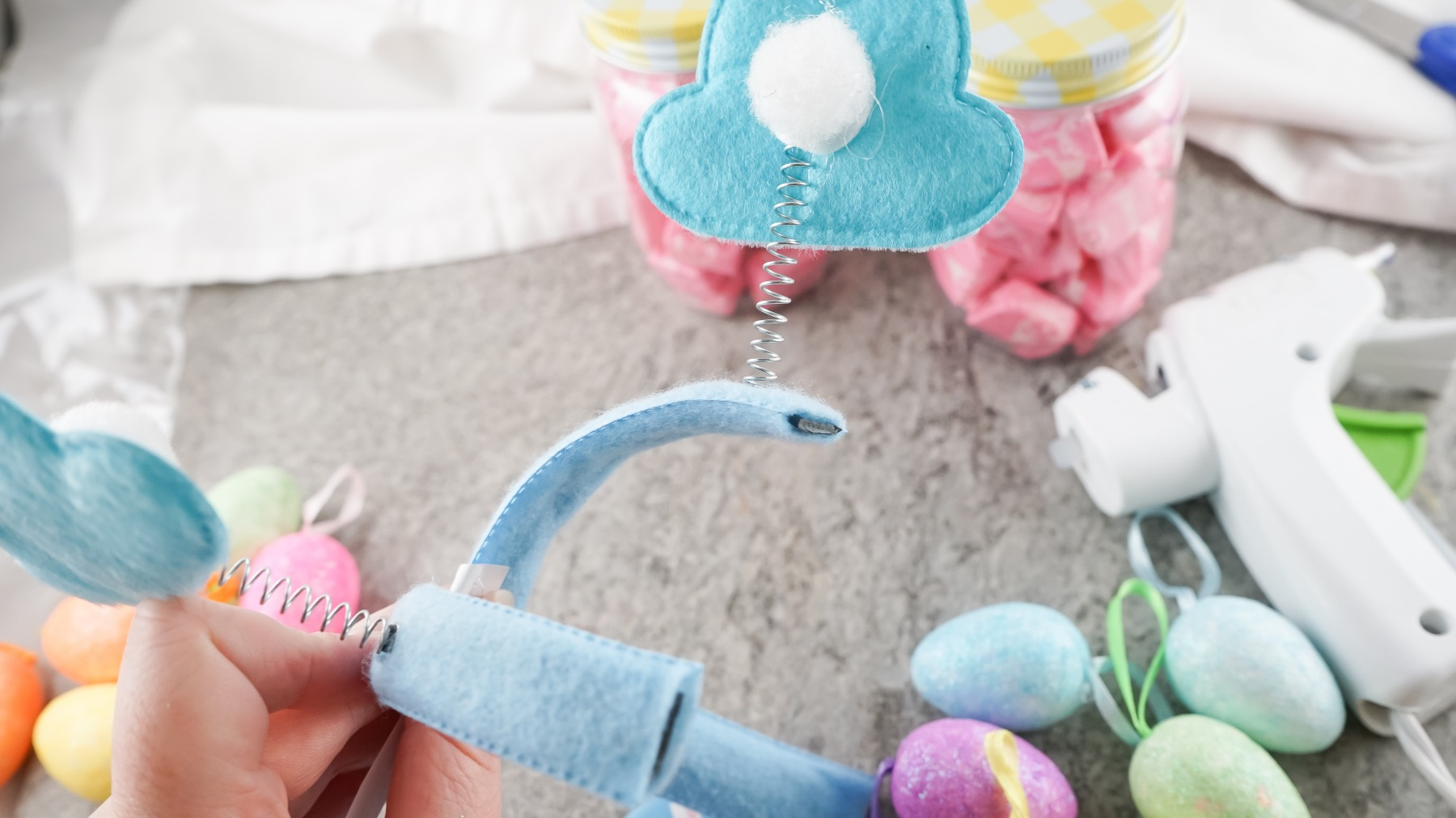 cut the bunny off the headband to make a easter treat jar