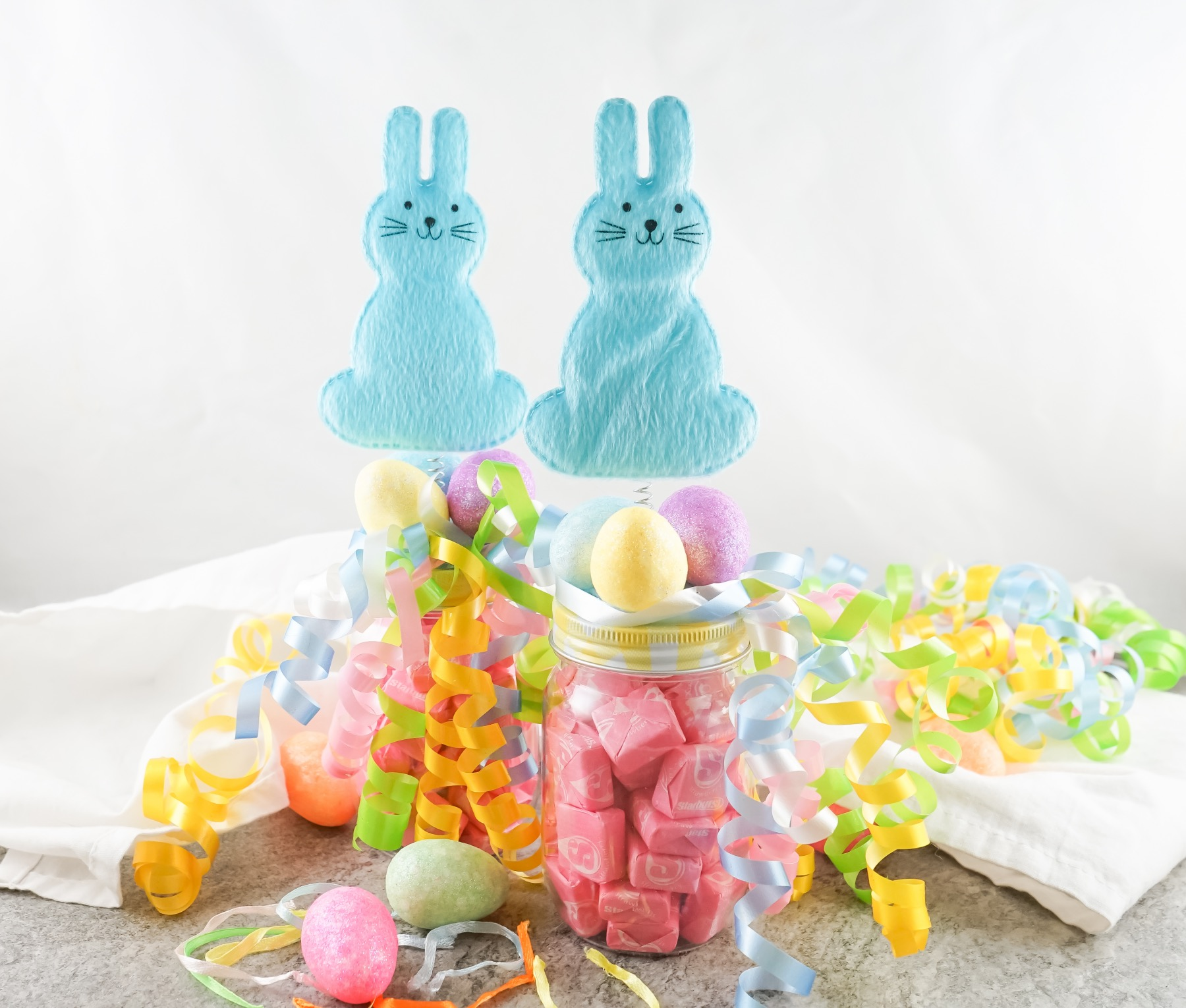 finished easter bunny treat jars for an easter basket