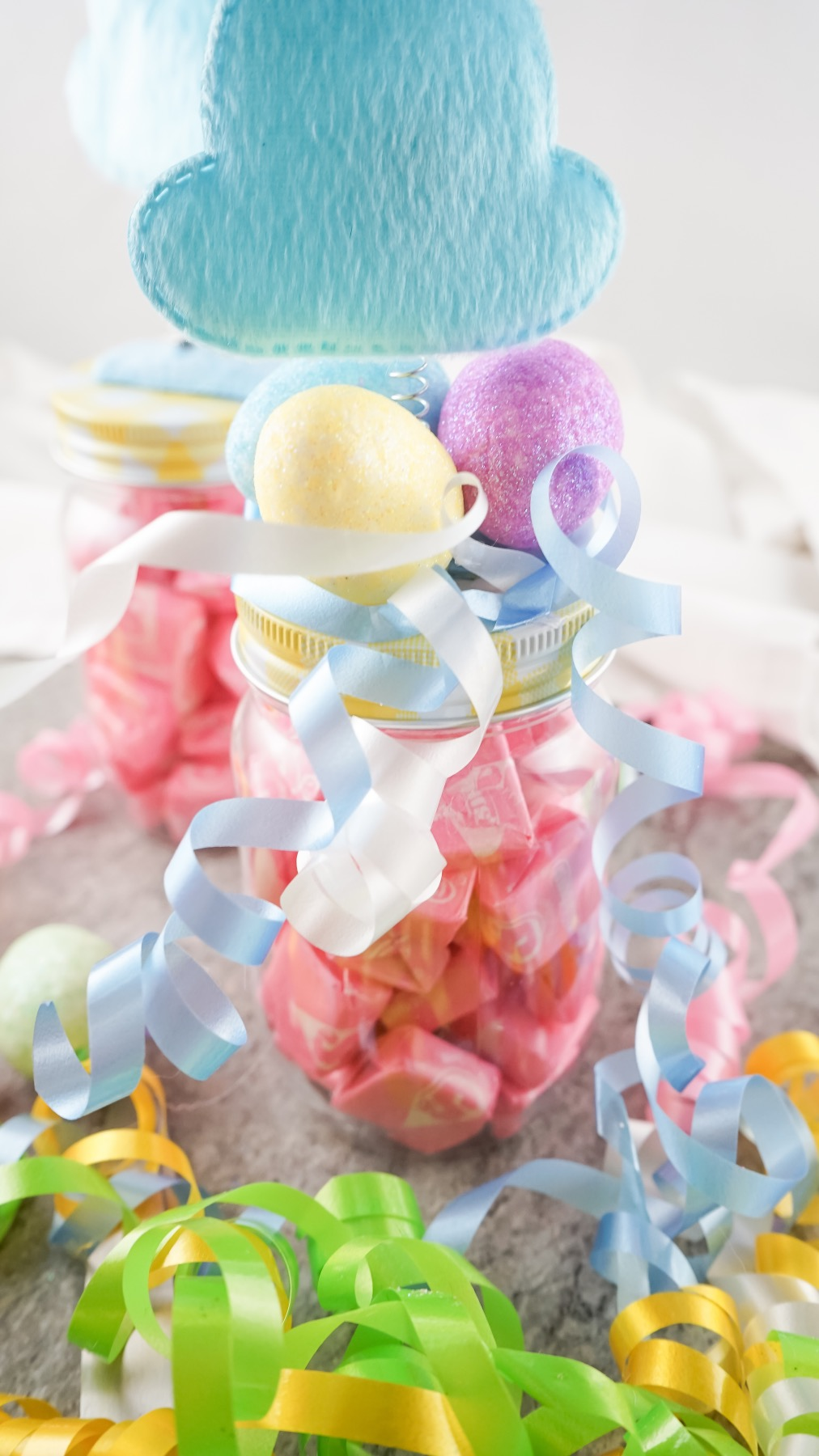 ribbon topped easter bunny basket treat jar