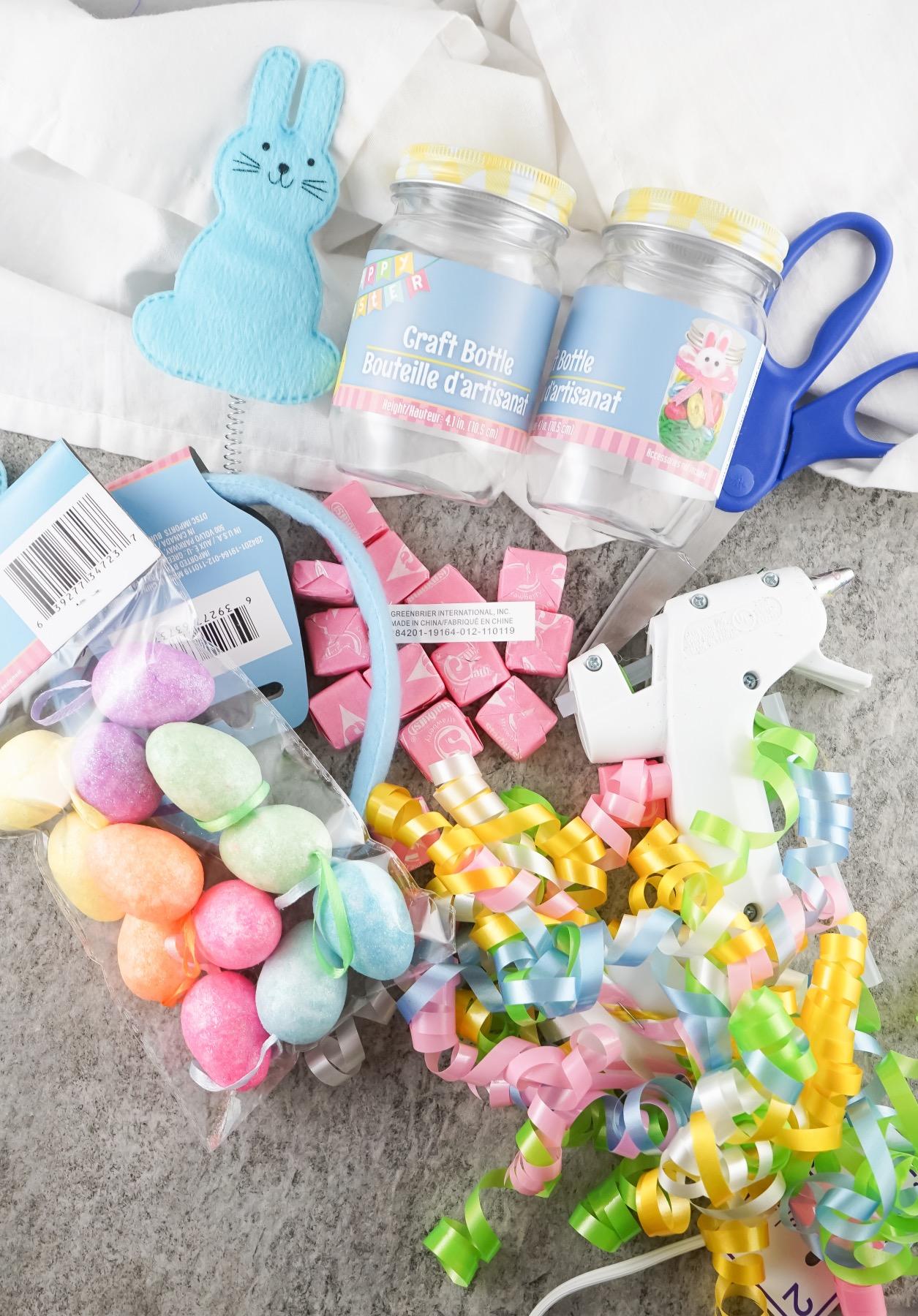 supplies to make a starburst easter bunny mason jar