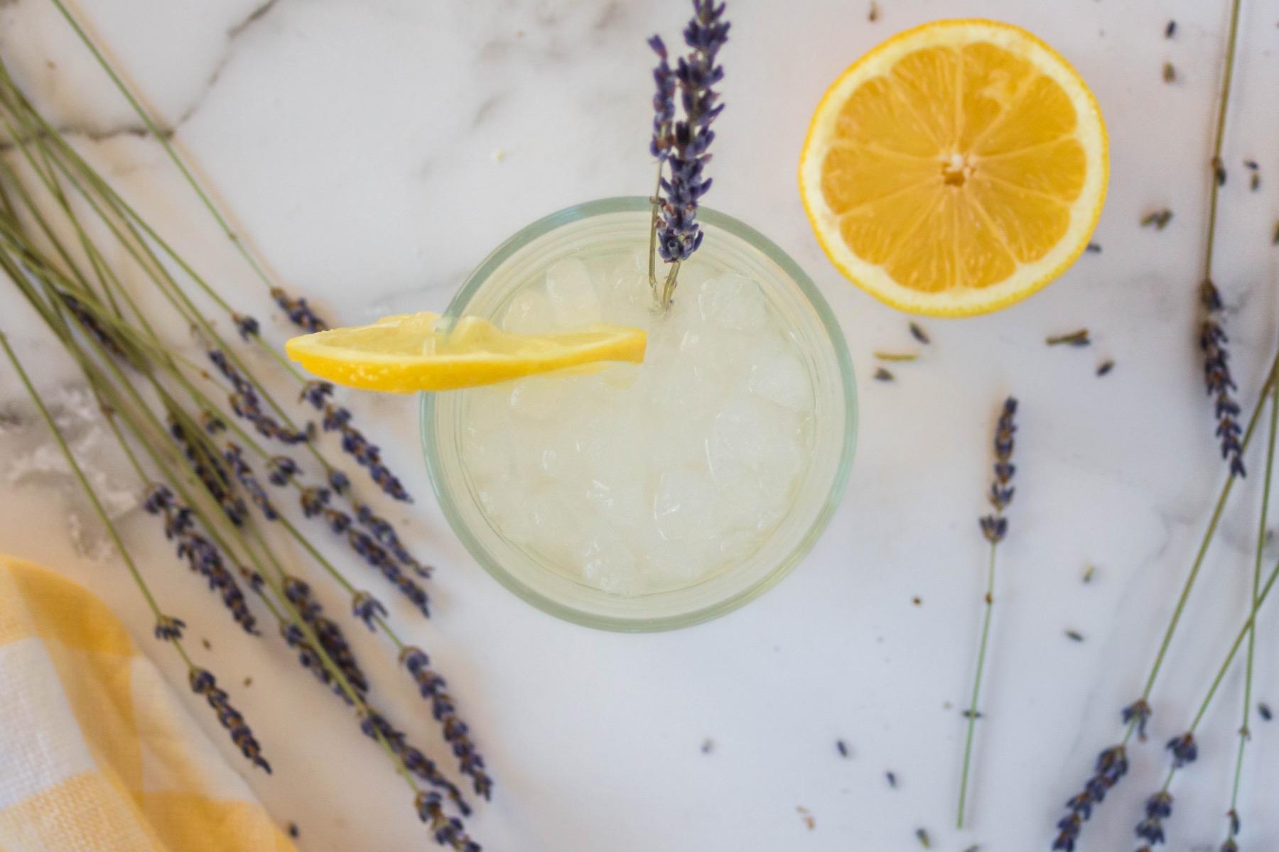add a slice of lemon to the lavender lemonade recipe