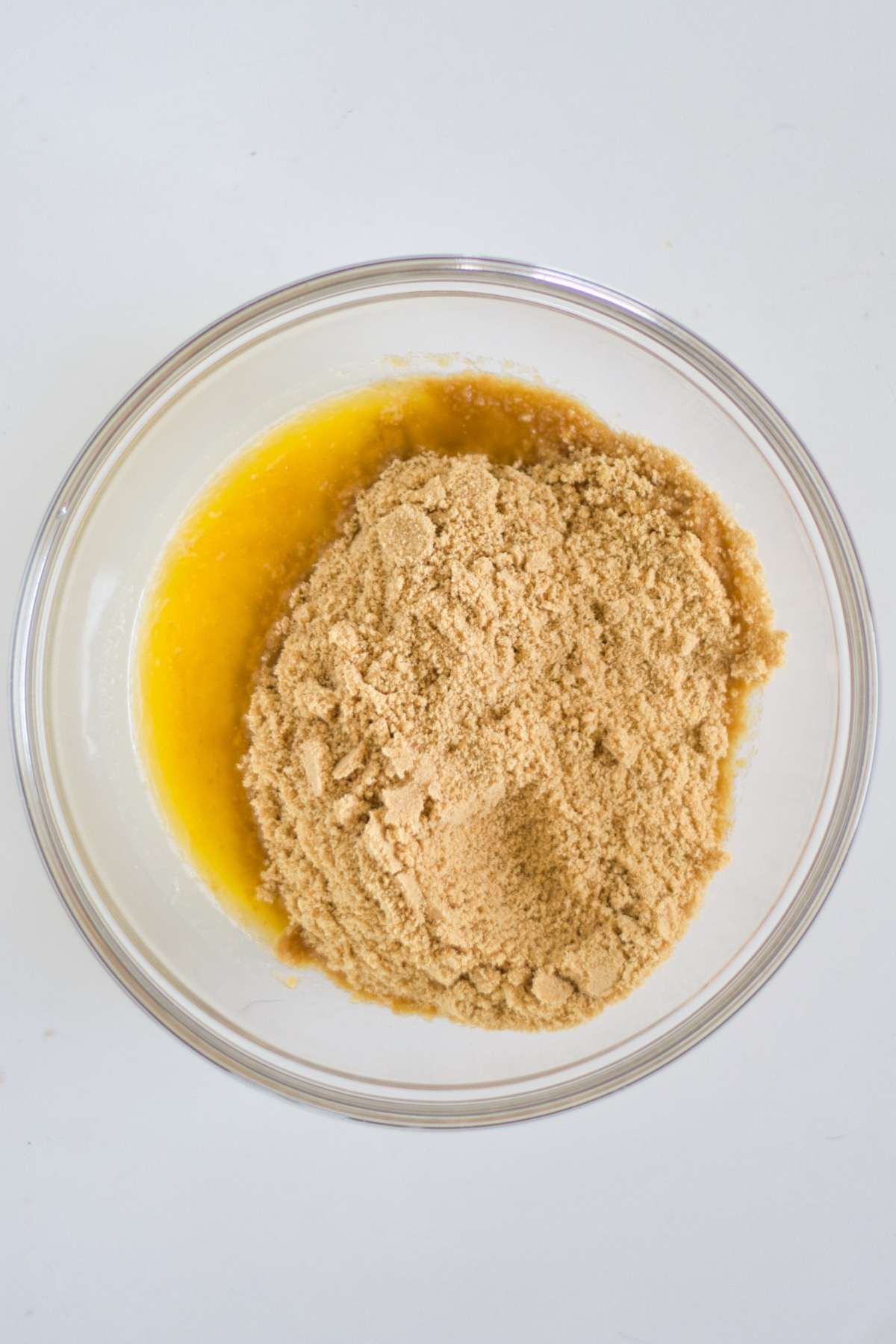 blend the cookie crumbs and the butter to make a crust