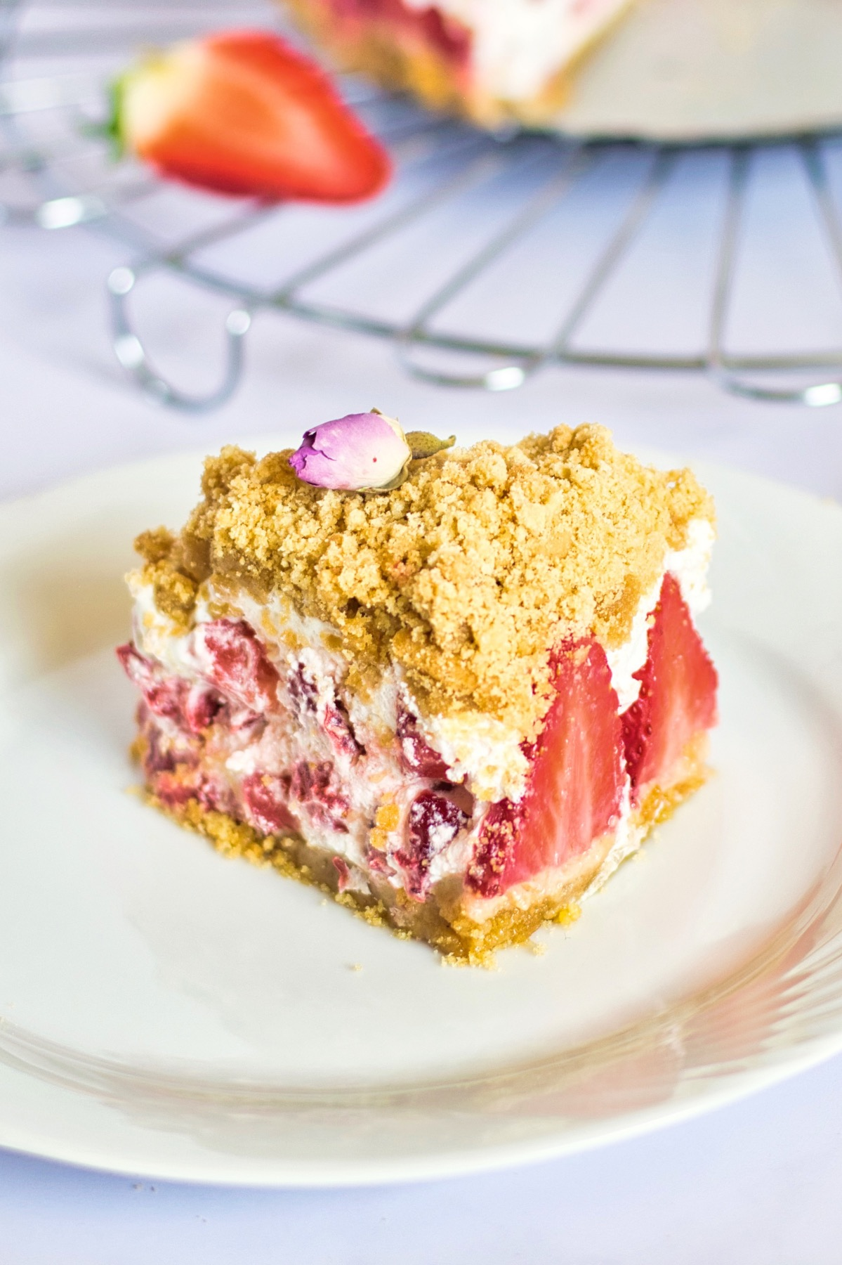 close up of a strawberry crumble slice pop shop america