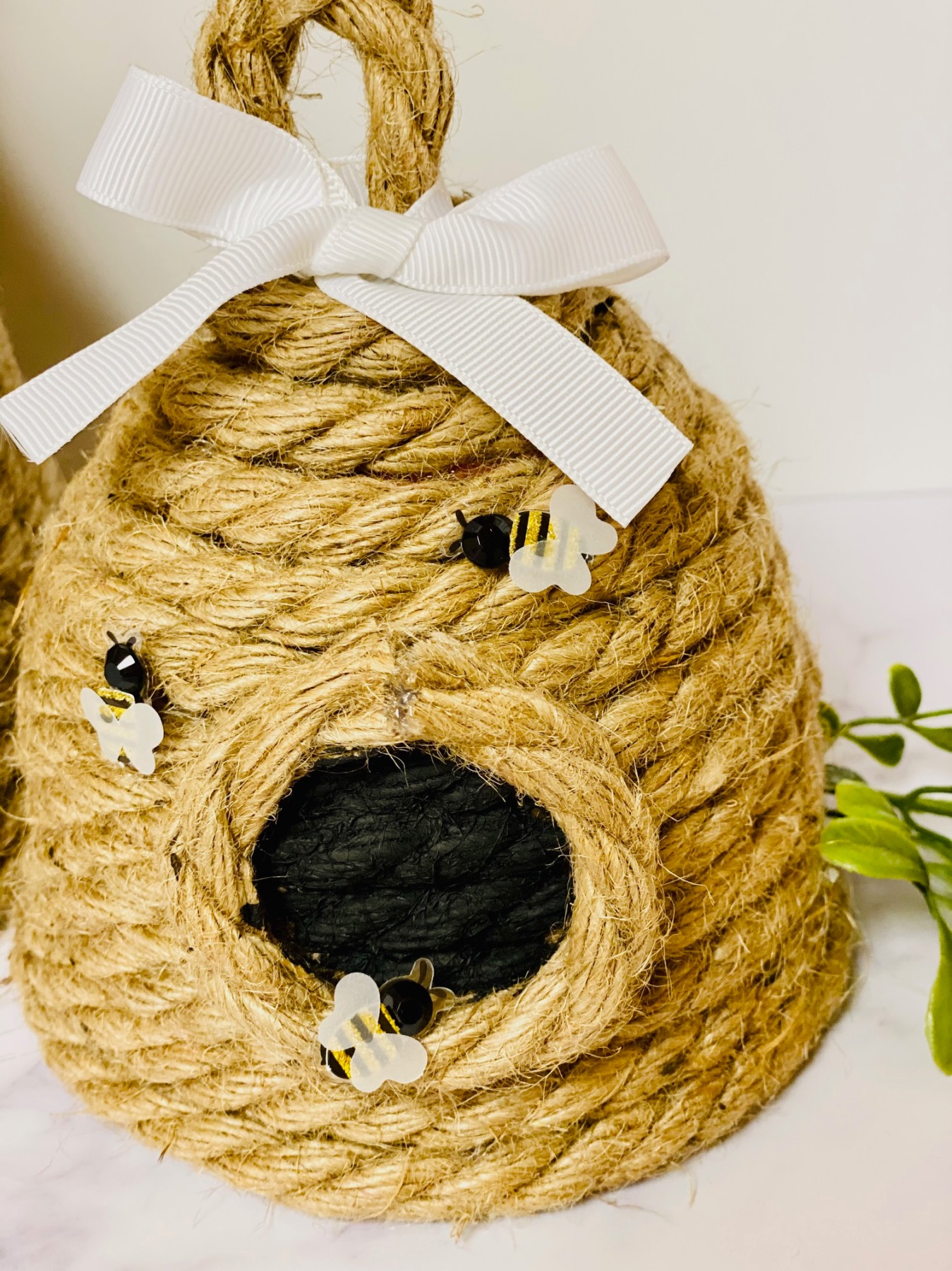 close up of the bees on the diy rope beehive