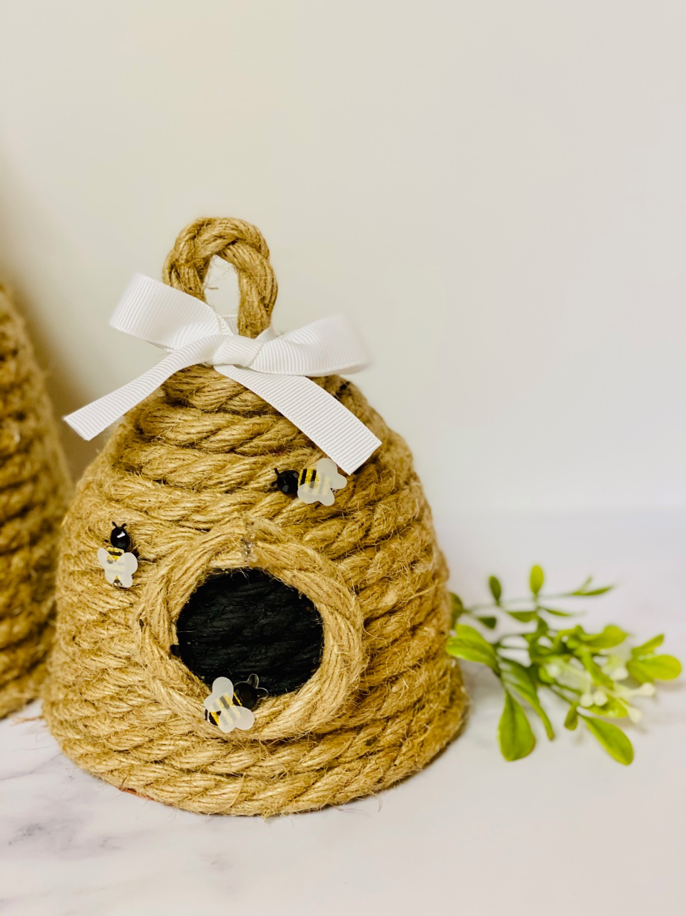 detail of diy beehive decoration with rope