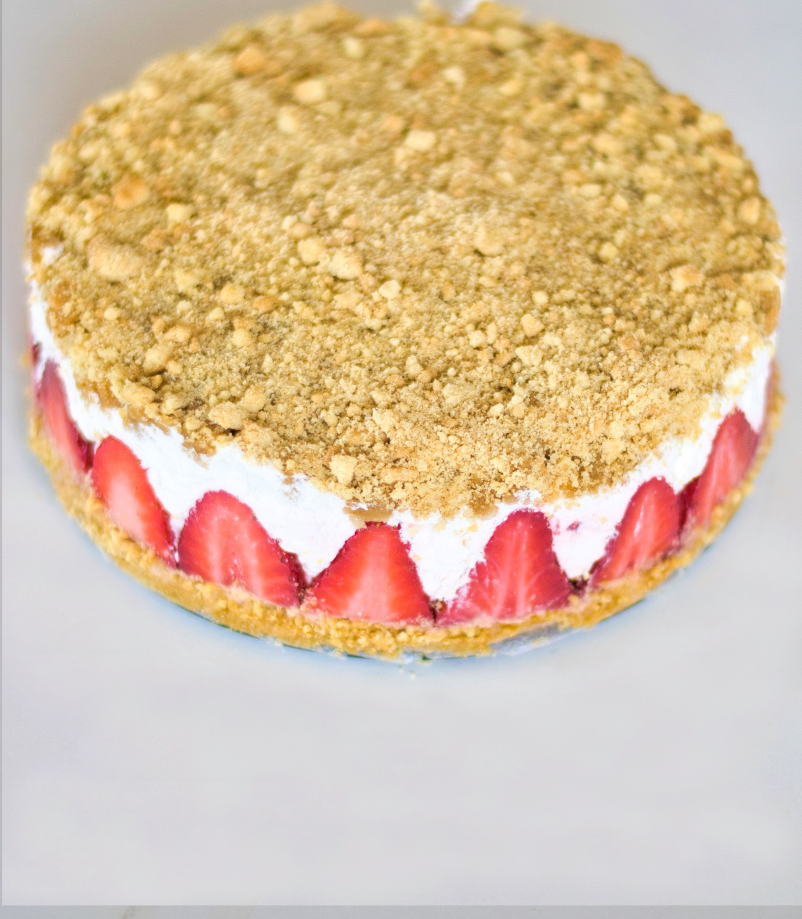 finished strawberry cream crumble before cutting