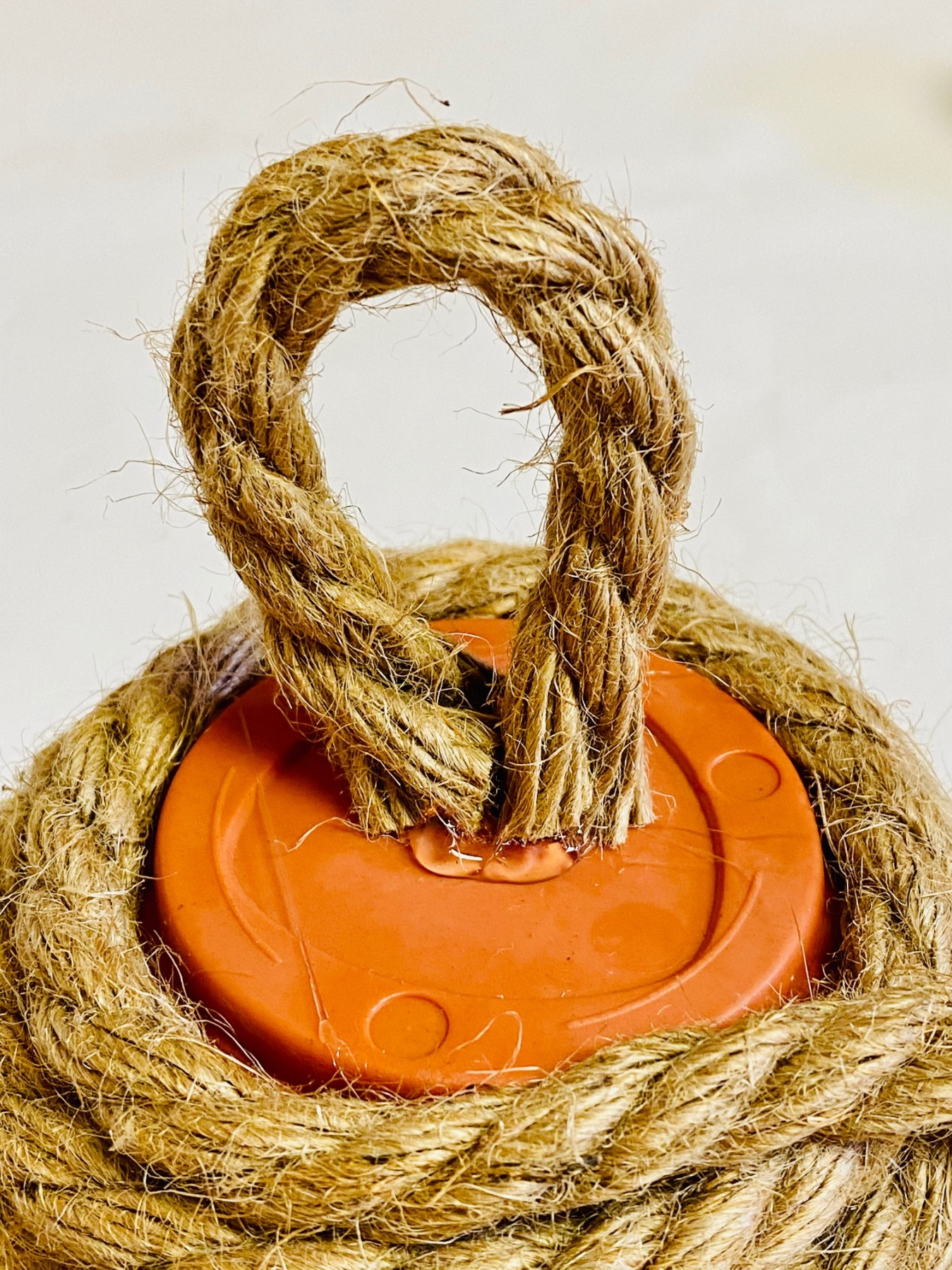 make a loop of rope at the top of the diy beehive decoration