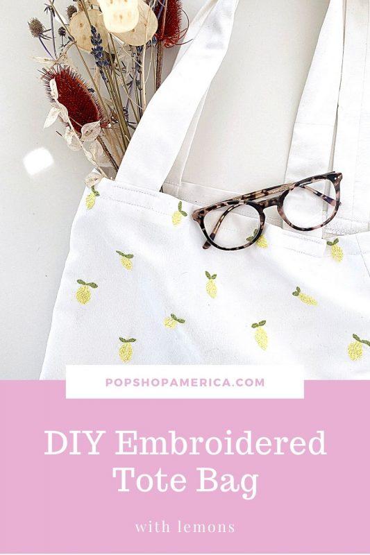 DIY Embroidered Tote Bag with Lemons