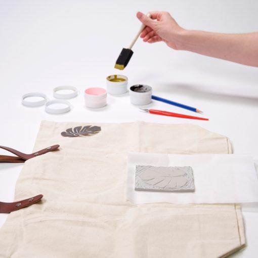 brush fabric ink on the block print
