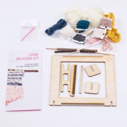 close up of supplies inside the full diy loom weaving kit