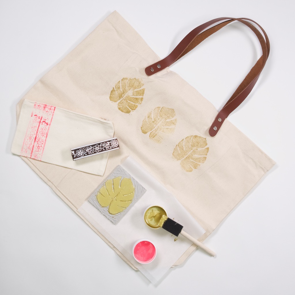 finished block printed tote bag and zipper pouch set