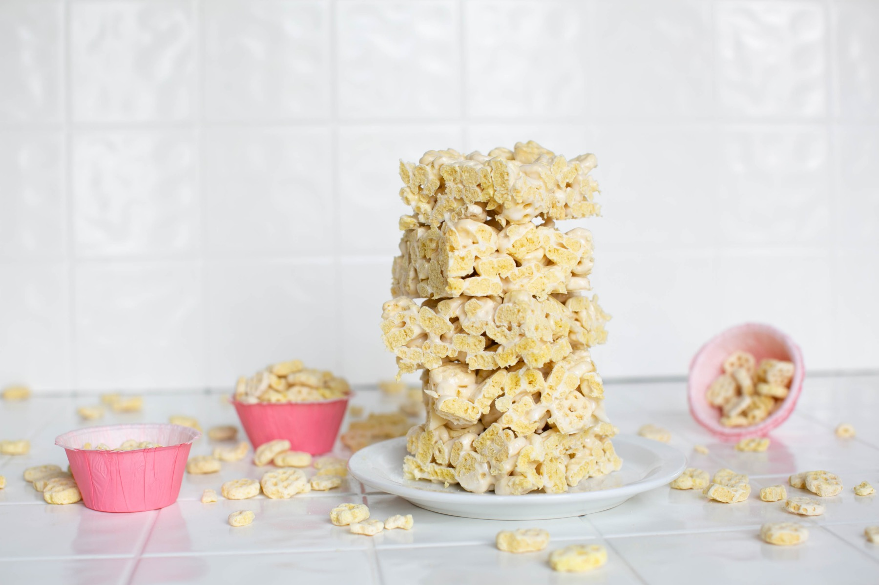 finished honeycomb marshmallow crispy treats
