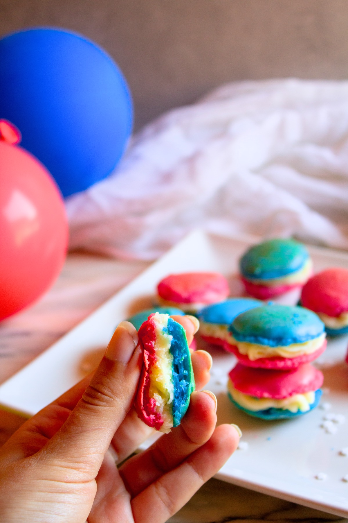 finished red white and blue macarons recipe