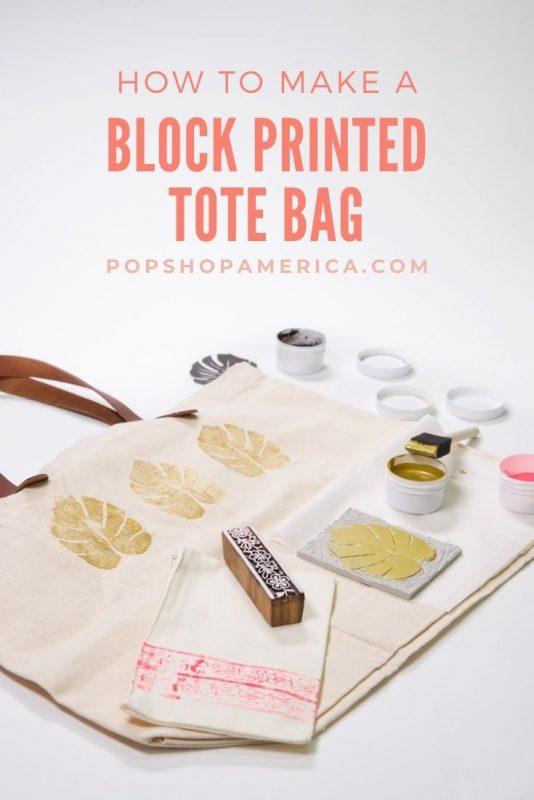 how to make a block printed tote bag tutorial pop shop america