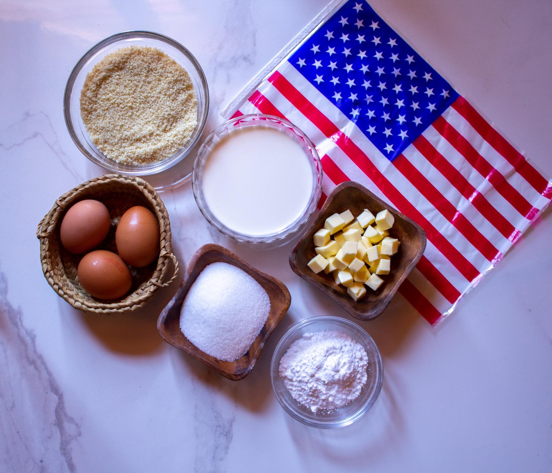 ingredients to make 4th of july macarons