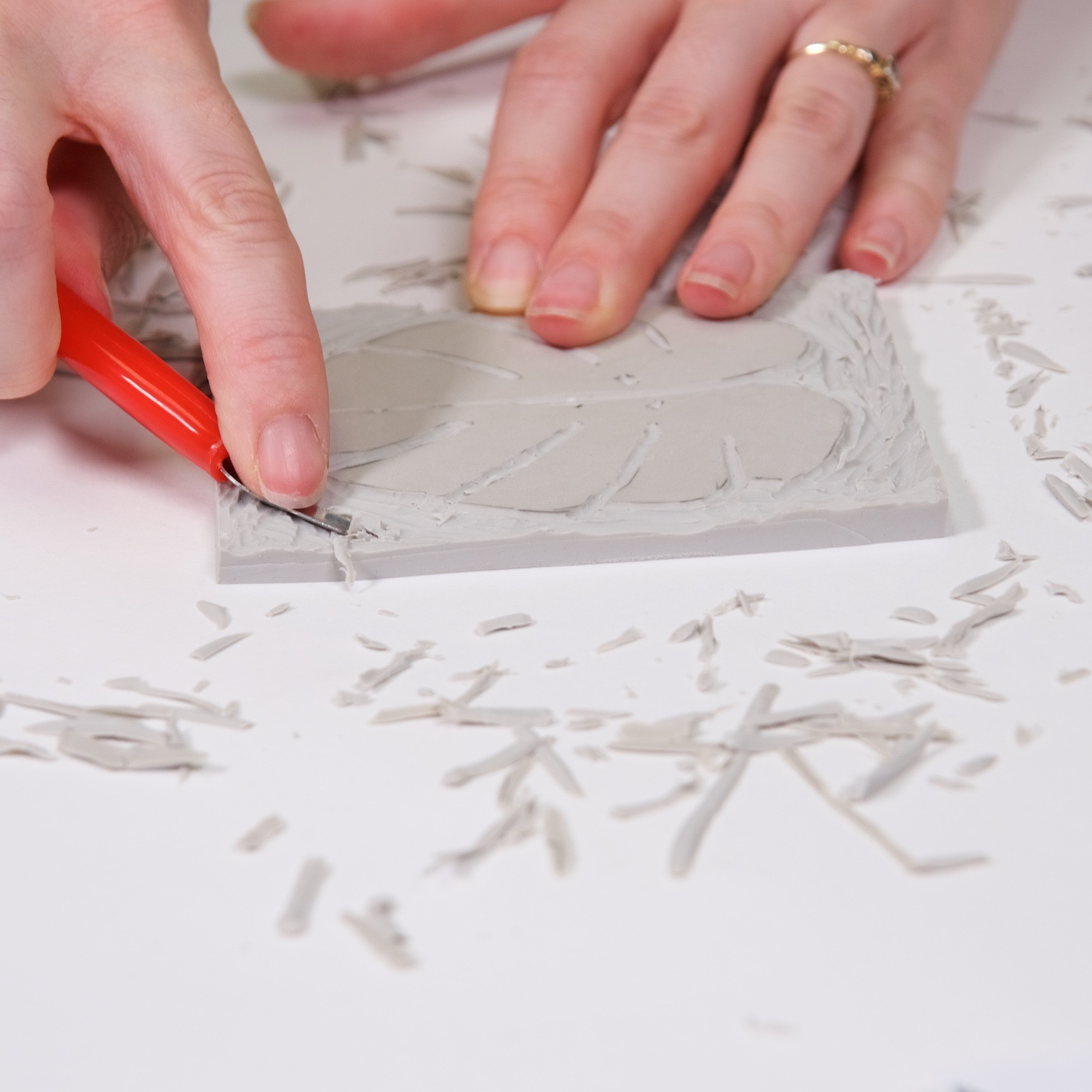 keep the central image of your linocut block taller