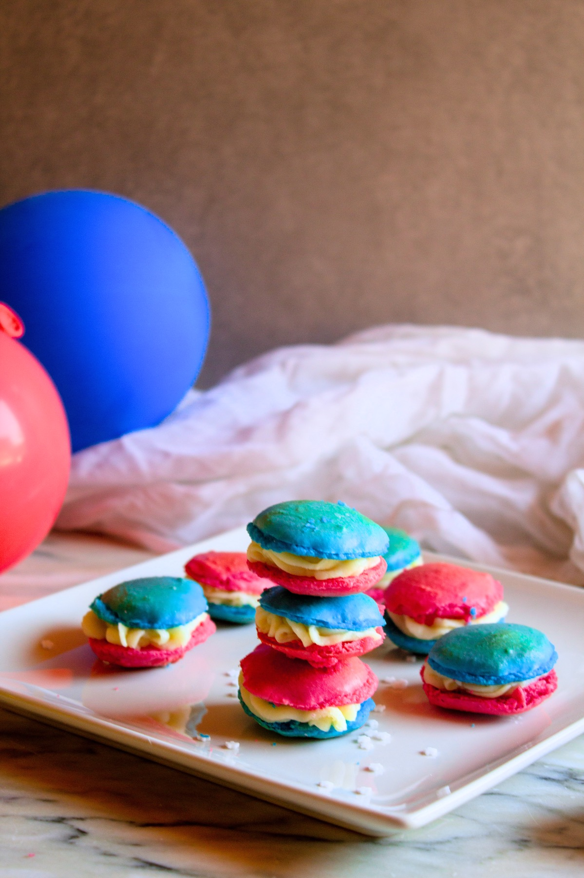 plated red white and blue homemade macarons recipe