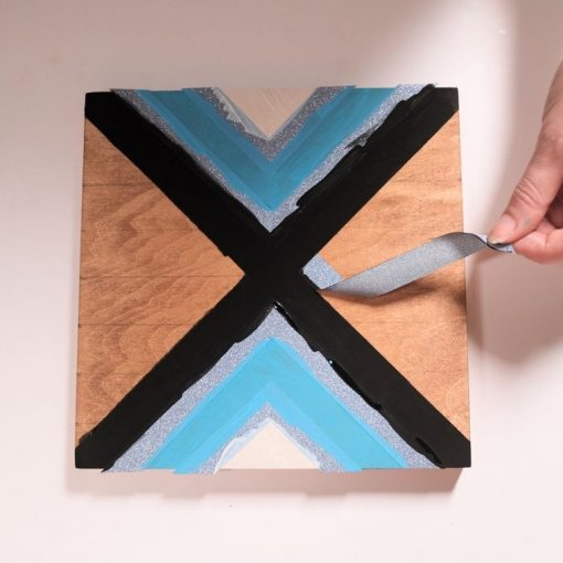 removing the tape diy chevron painting tutorial square