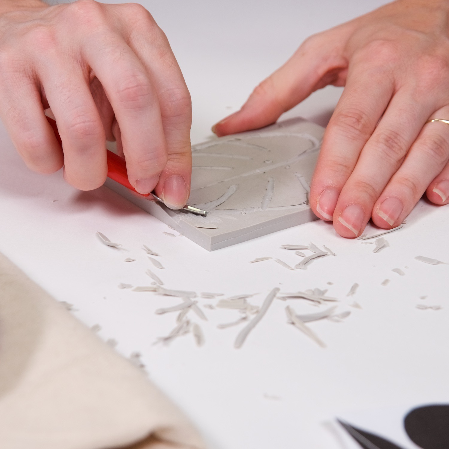 shave the outside of the block print down