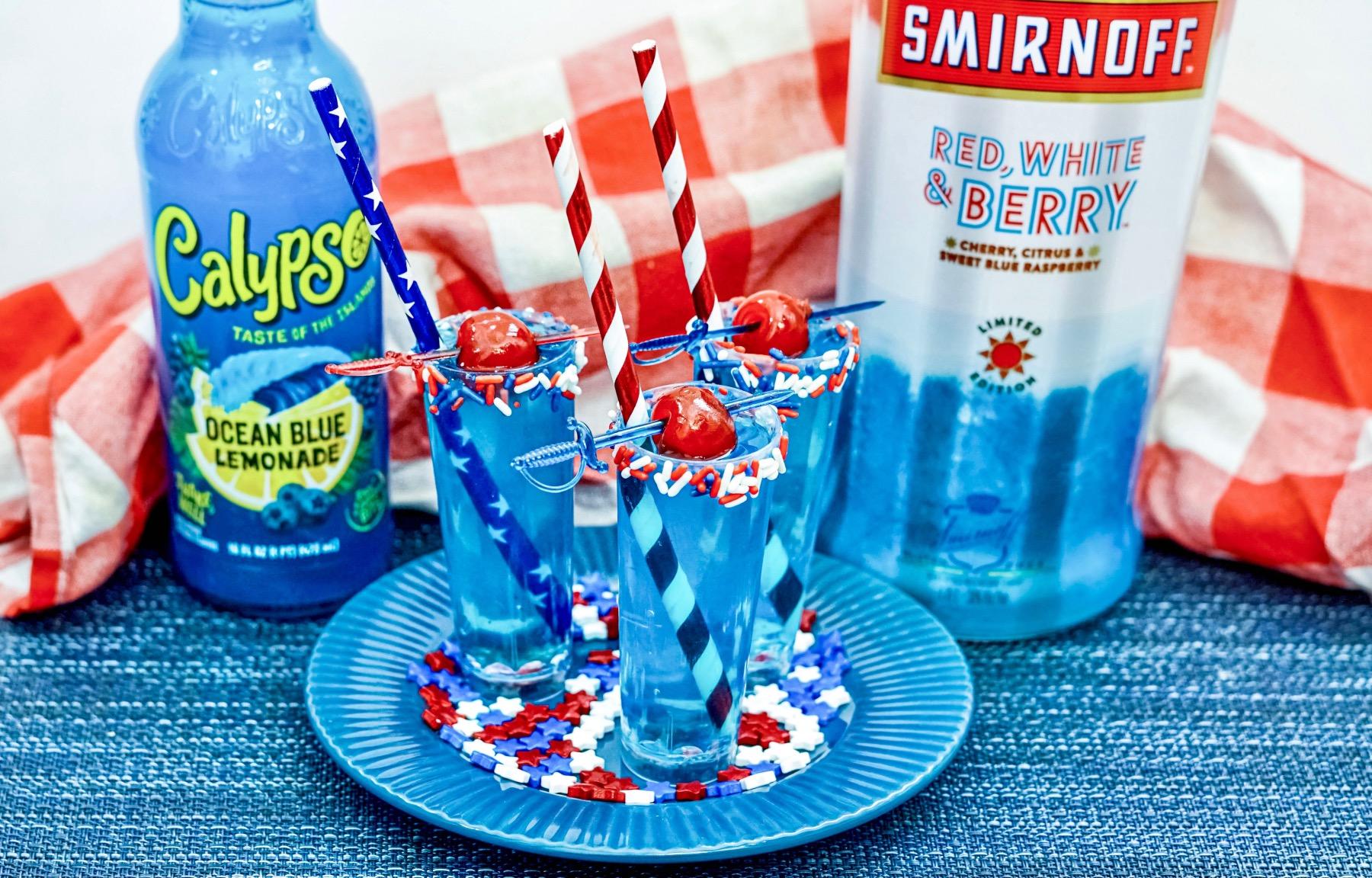 calypso ocean blue lemonade and smirnoff red, white and berry cocktail