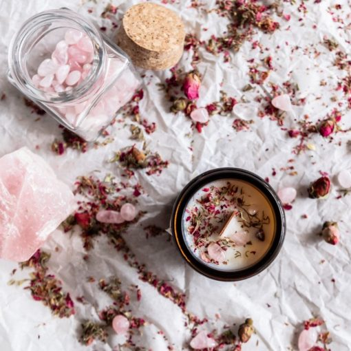 flatlay candle making kit diy with amber jar and wood wick