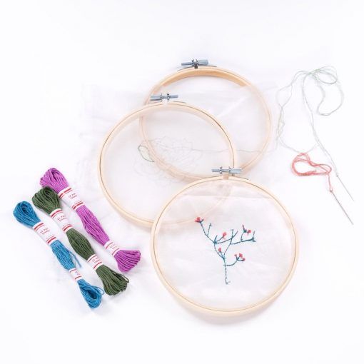 flatlay deluxe flower and plant embroidery kit