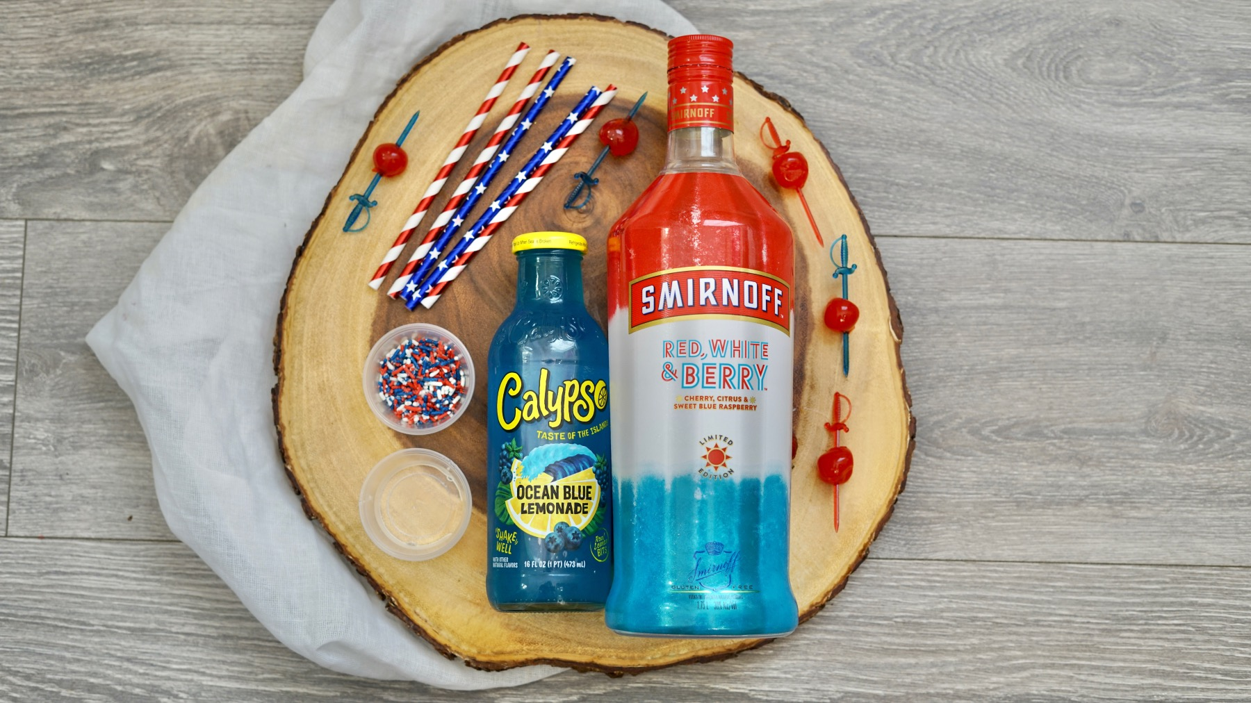ingredients to make 4th of july lemonade shooter cocktails