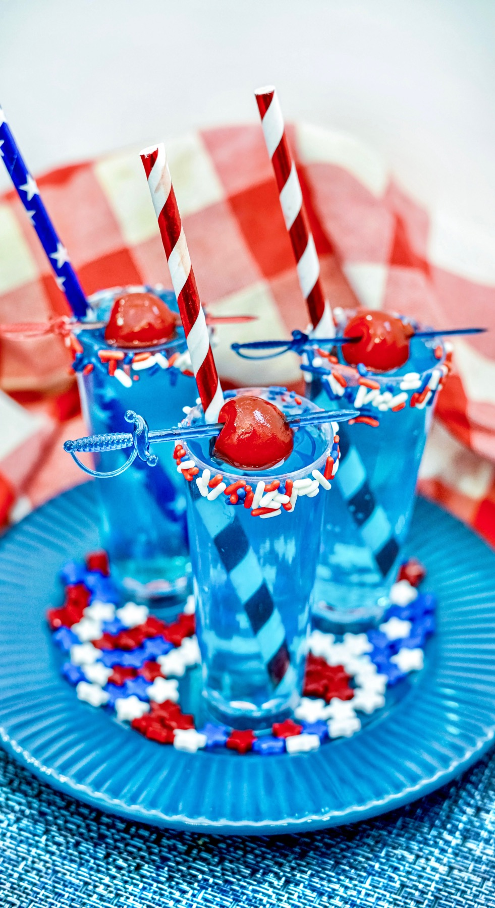 red, white, and blue lemonade cocktail shots
