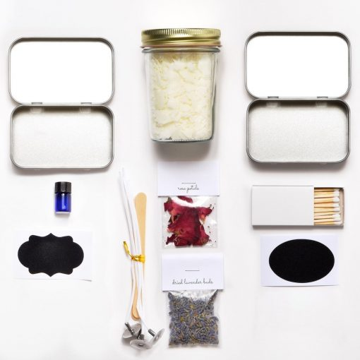 travel candle making kit flatlay