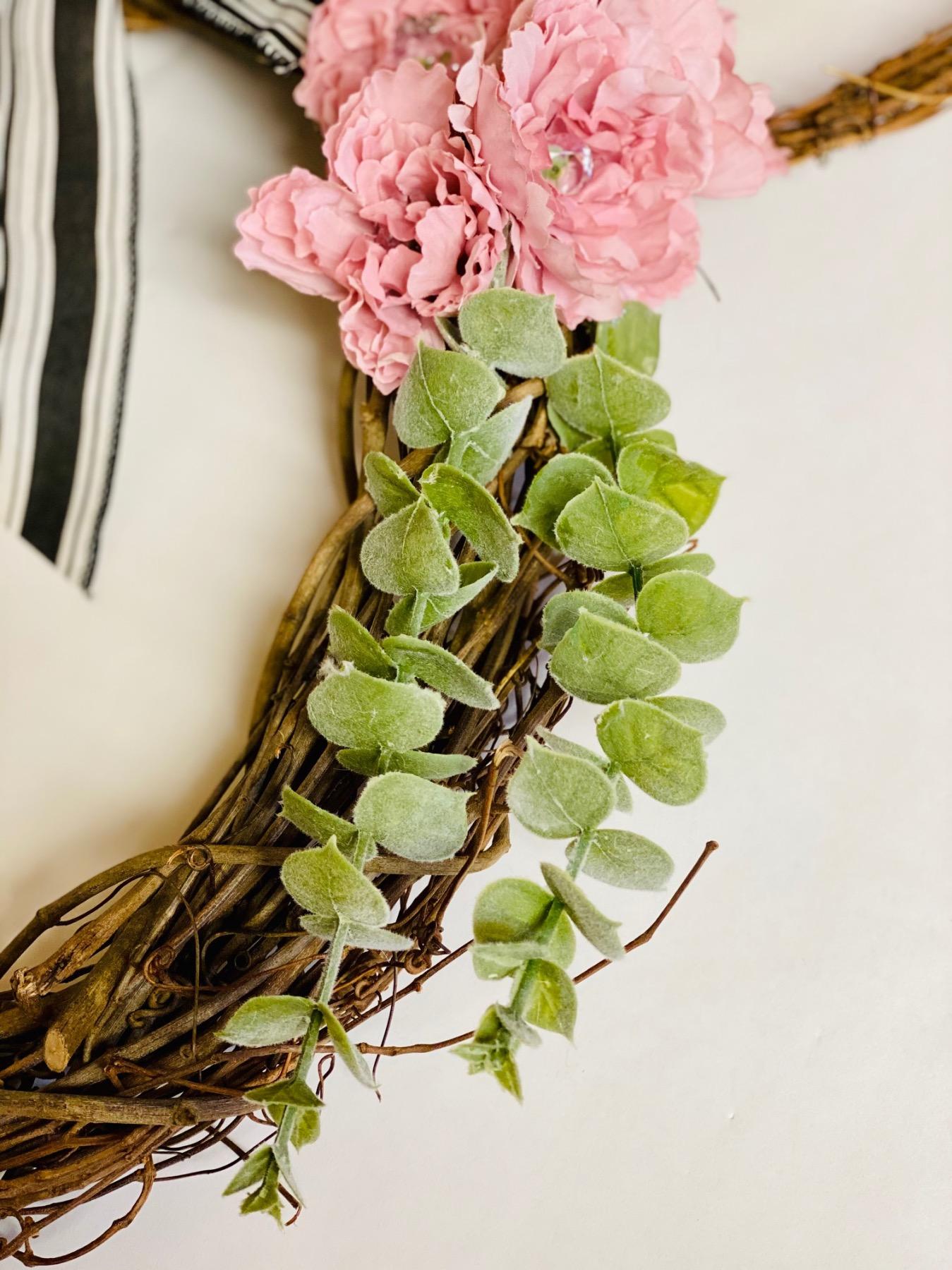 add eucalyptus to the minnie mouse wreath diy