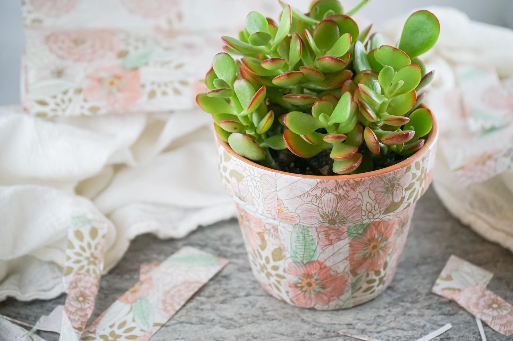 close up of diy flower pot decoupage tutorial