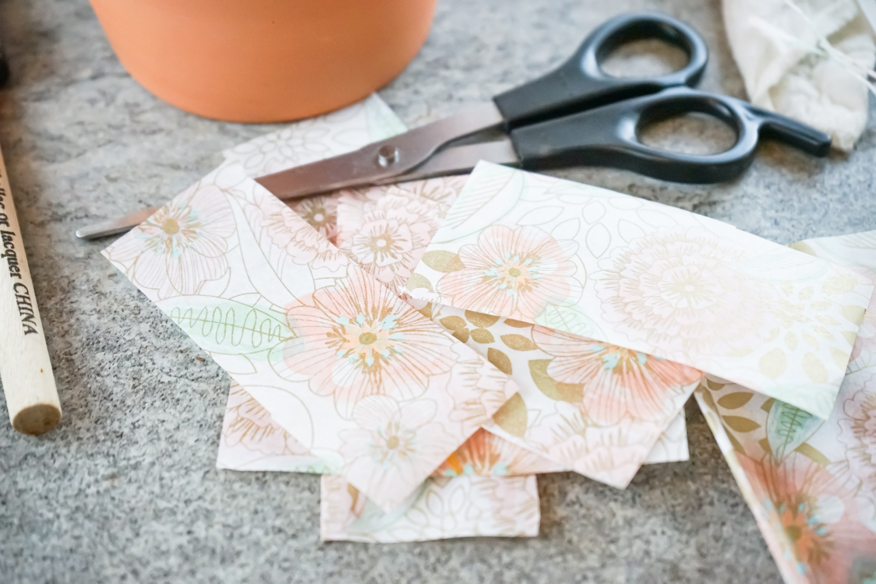 cut pieces of tissue paper to fit your planter