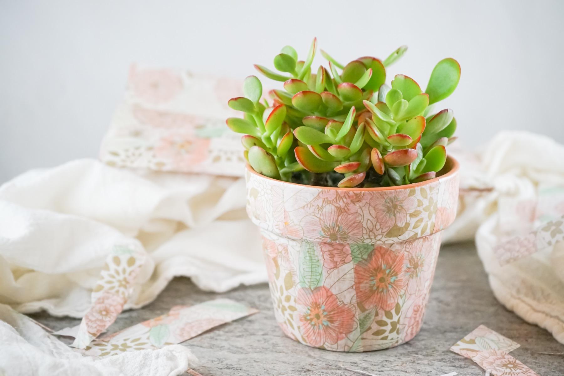diy decoupage planter pot pop shop america craft tutorial