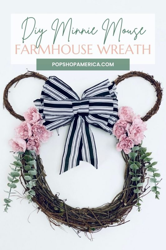 how to make a minnie mouse farmhouse wreath tutorial