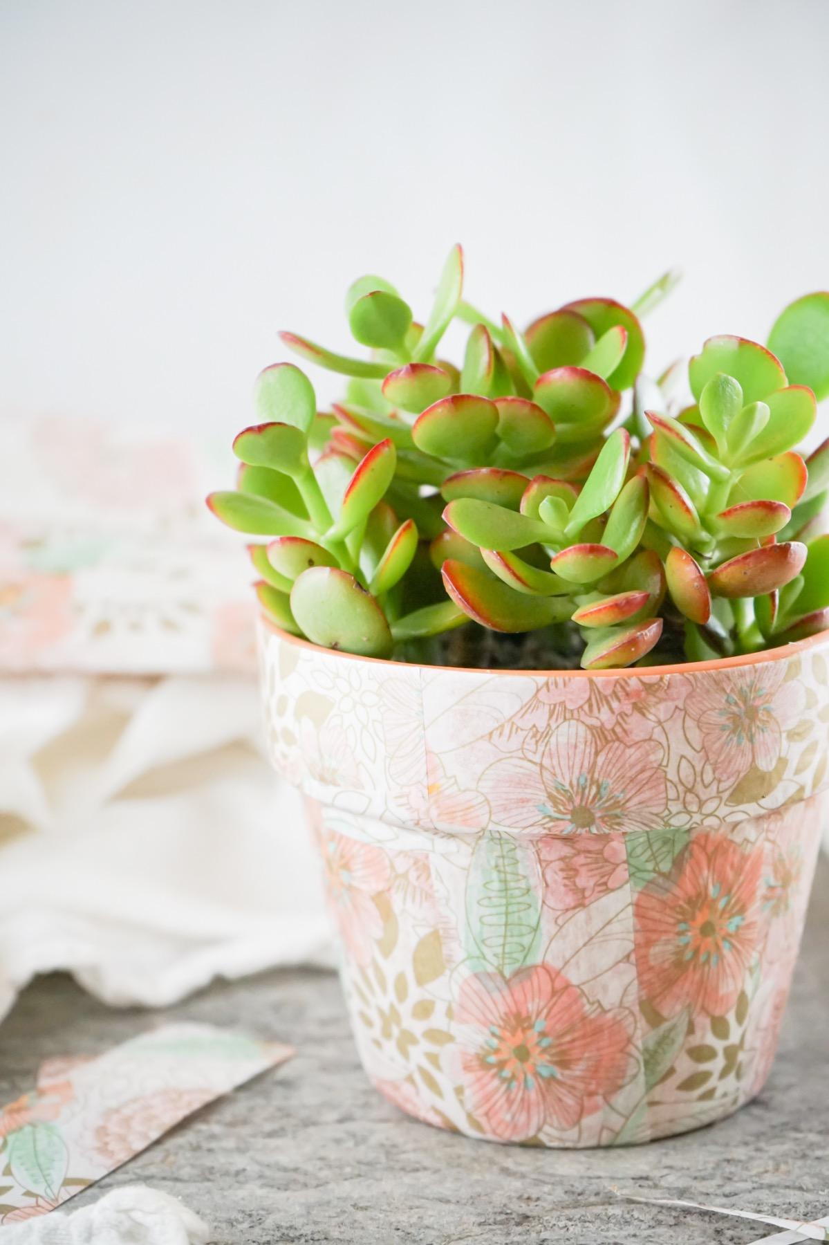 mod podge decoupage planter craft tutorial