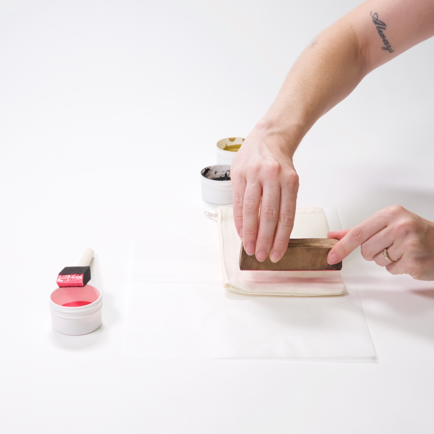 printing the zipper pouch with a wood block