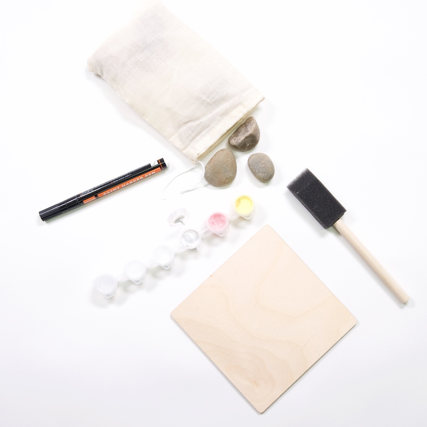 supplies to make a painted rock tic tac toe set