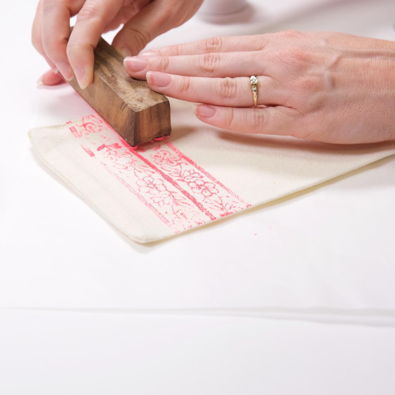wood block printed coin purse diy tutorial