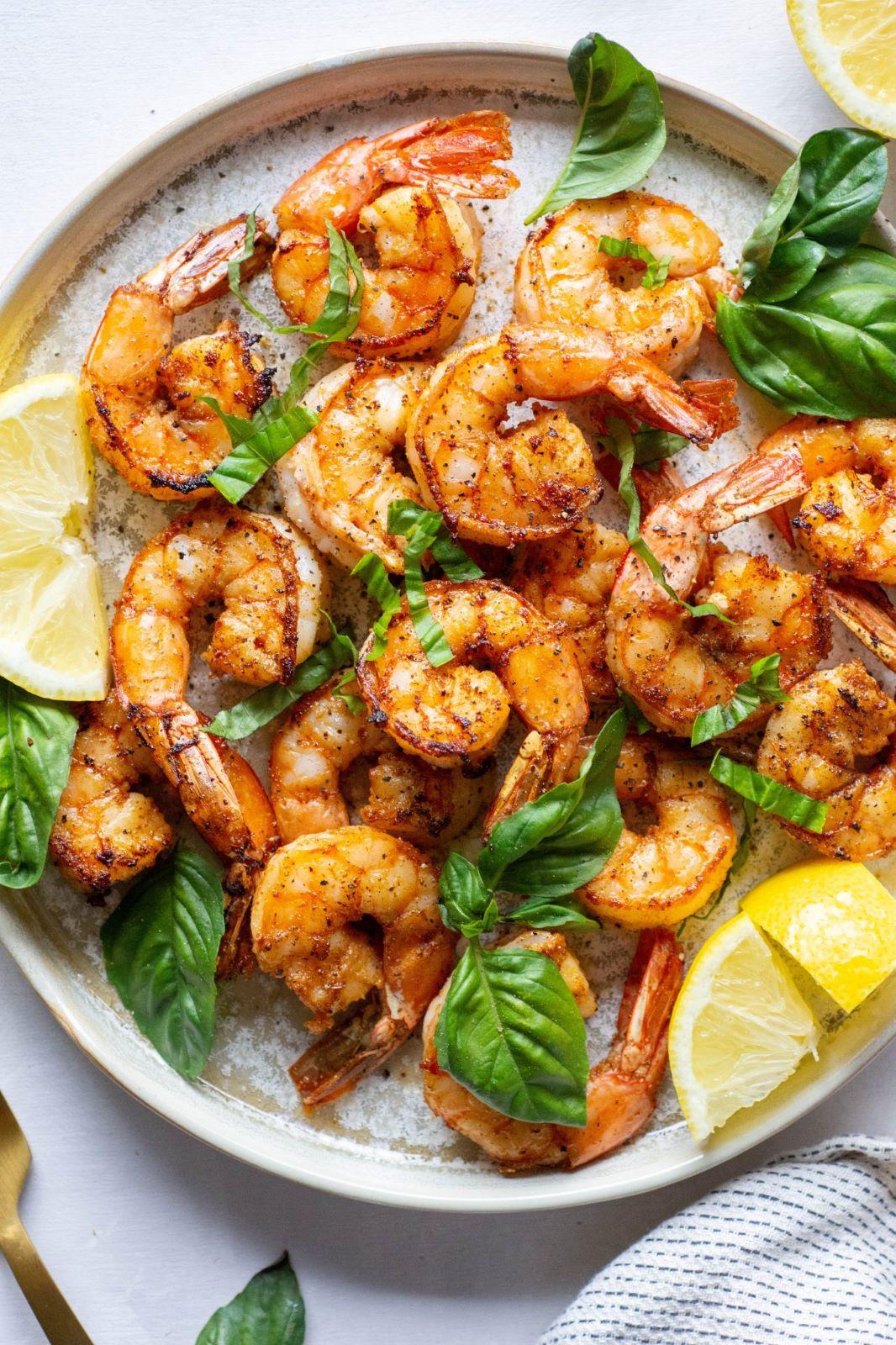 Garlic-Basil-Shrimp with lemon