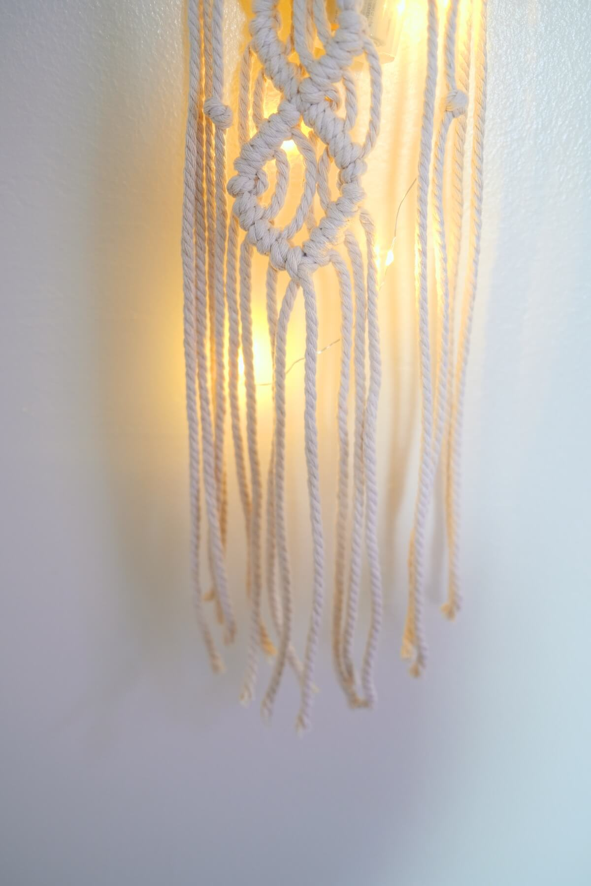 bottom of the macrame wall hanging finished