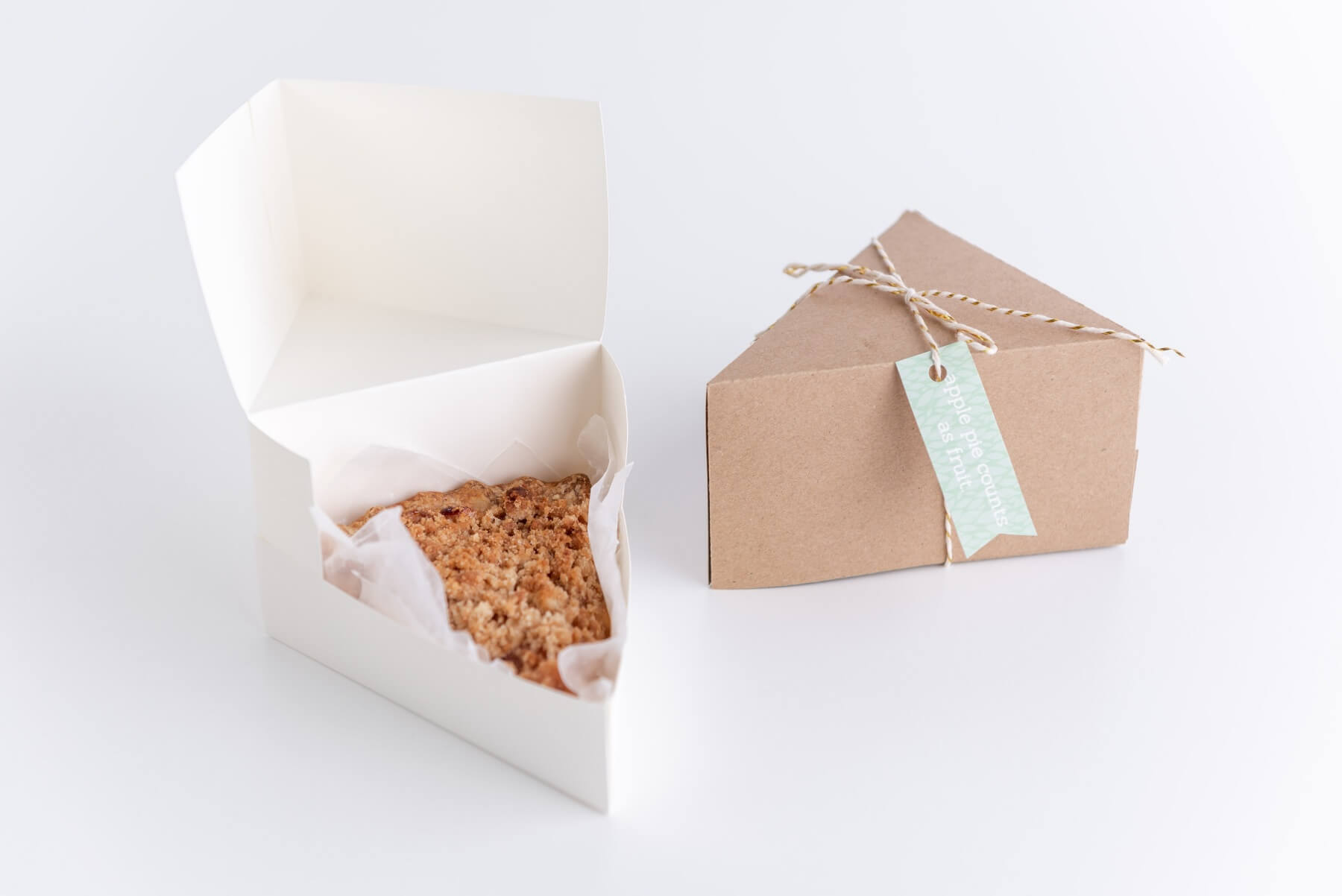 close up of finished pie slice box diy tutorial