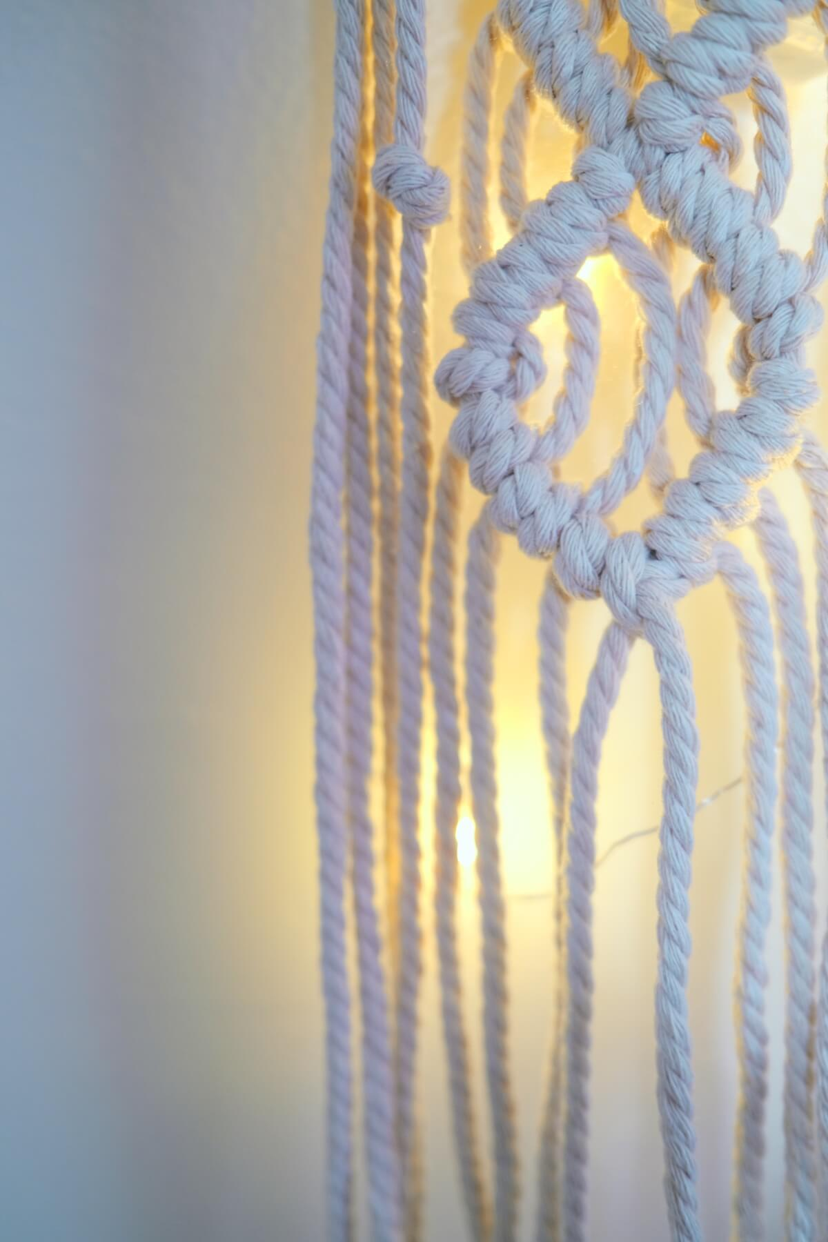 detail of the finished light up macrame wall hanging