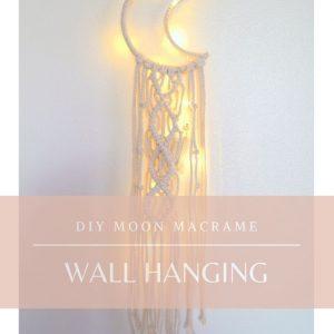 diy moon shaped macrame wall hanging craft tutorial
